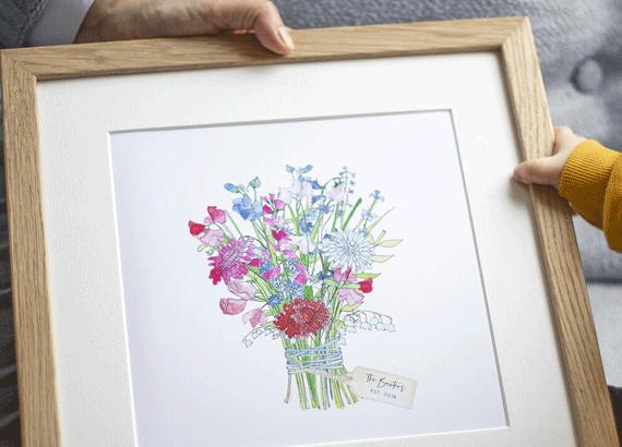 Birth flower bouquet print