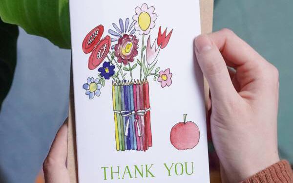 Thank you teacher crayon card