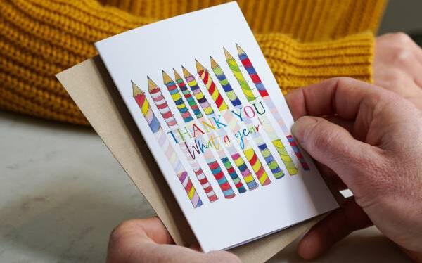 Crayon teacher thank you card