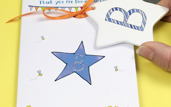 Stripy Letter Thank You Card