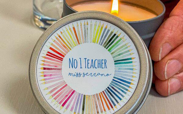 Teacher's Gift Crayon Wheel Tin Candle