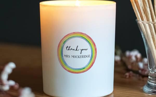 Thank You Teacher Rainbow Glass Candle