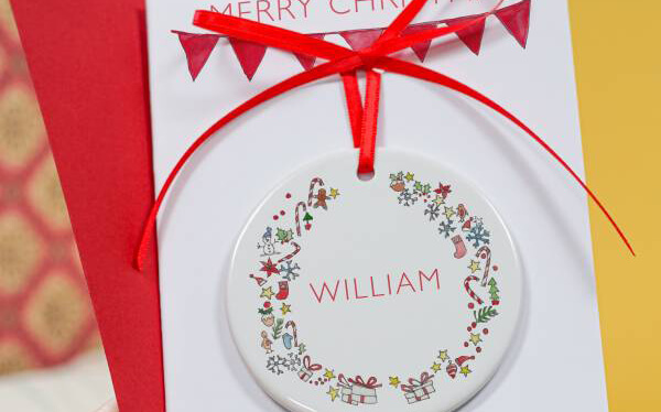 Christmas Wreath Ceramic Keepsake Card
