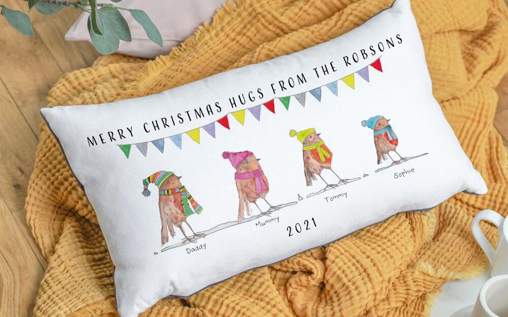 Robin Family Christmas Long Cushion