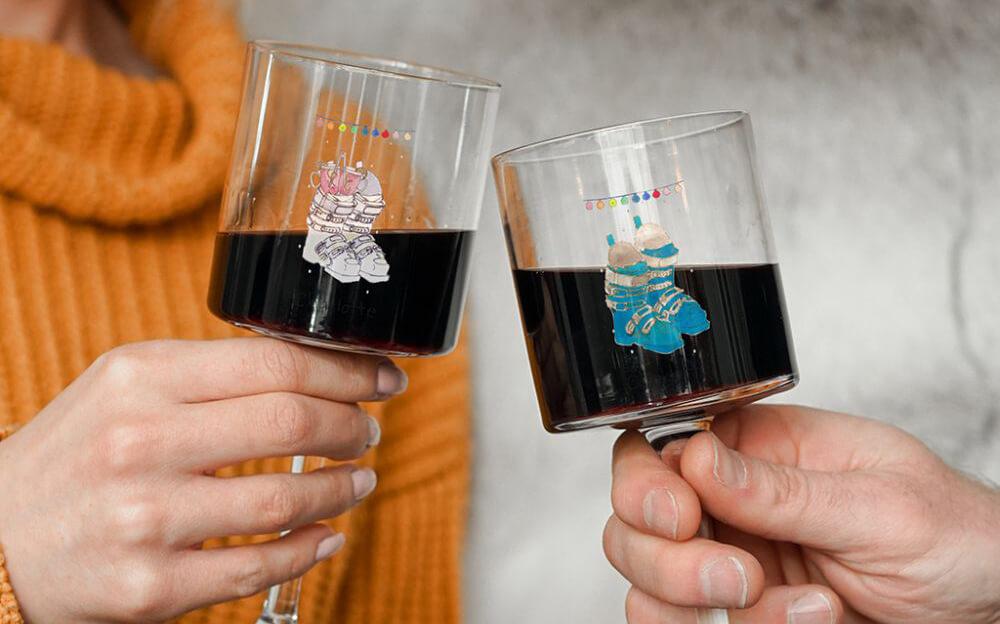Set of Ski Boot Christmas Glasses