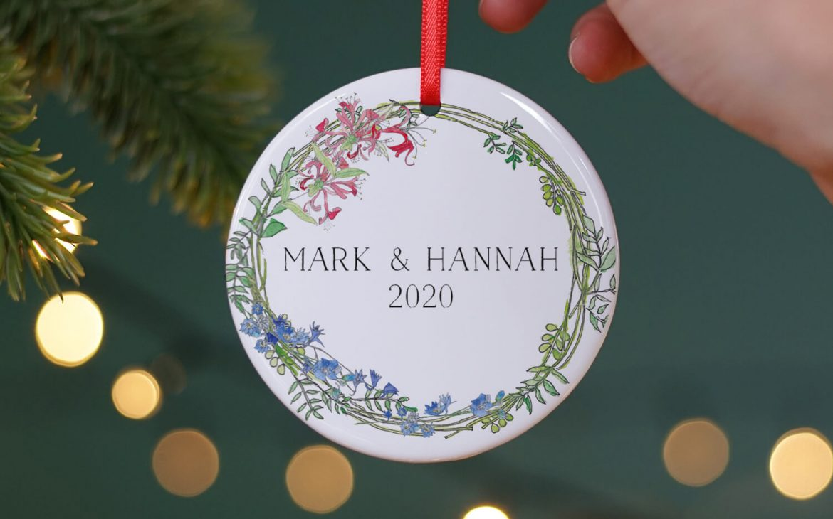 Couple's First Christmas Birth Flowers Hanging Decoration
