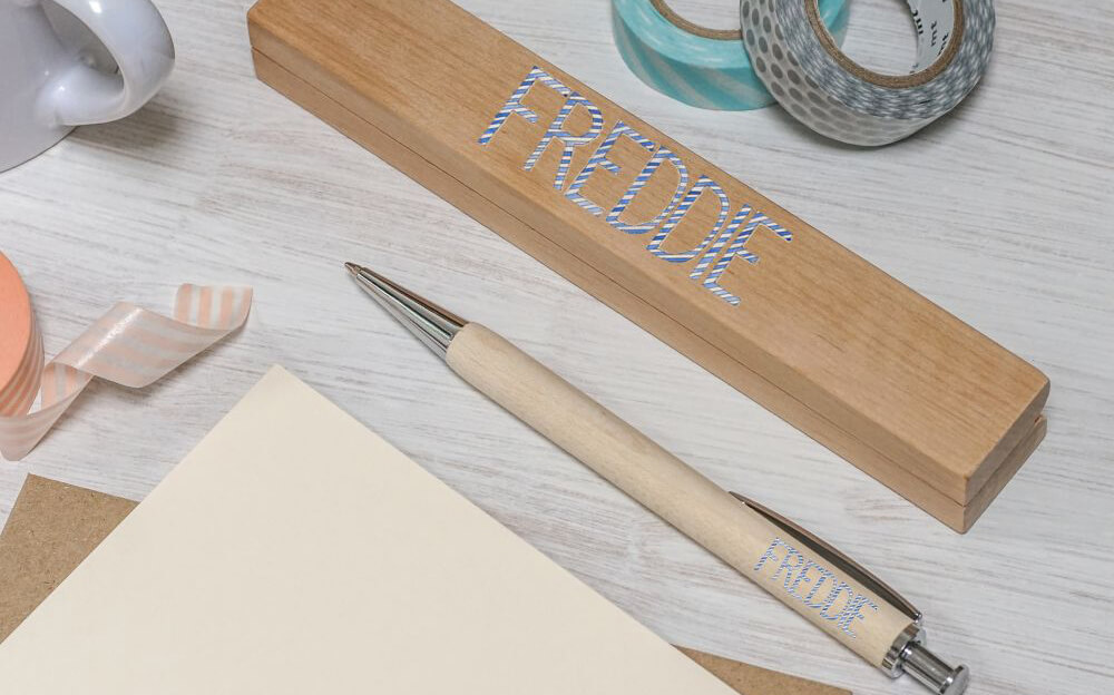Stripy Letters Pen and Gift Box