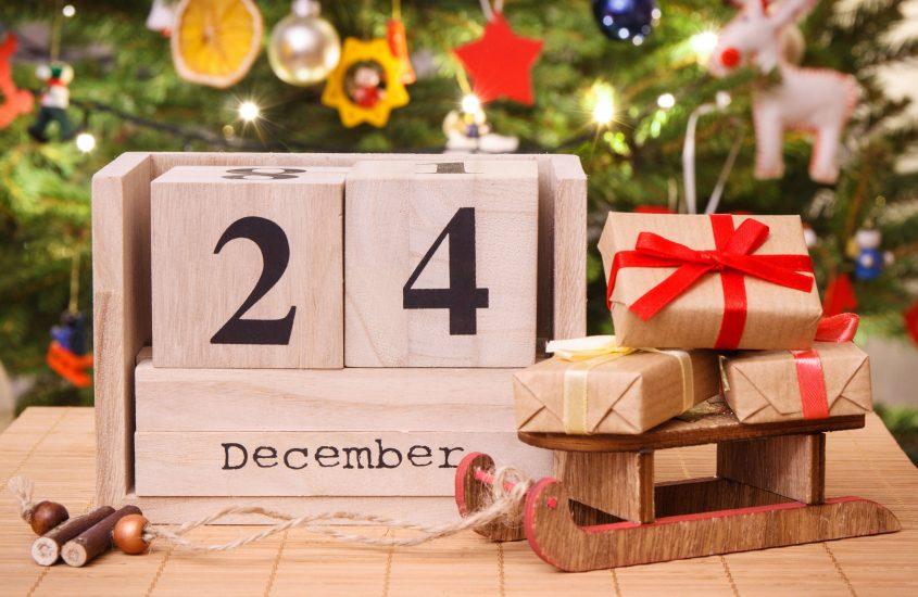 Wooden Calendar showing 24th December